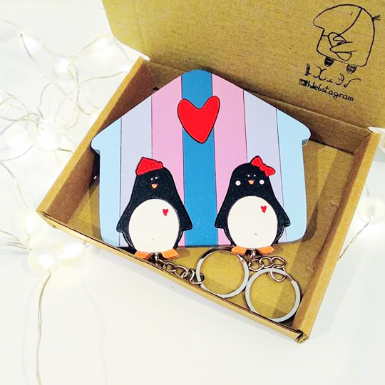 Ключница на два ключа 'Penguins'